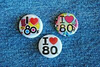 """I Love eighties Movie Pin Pinback Buttons 1"""" jacket Badge Music 80s Heart"""