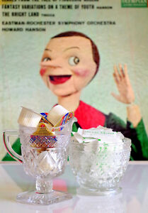 Cut Glass Footed Cream Sugar Creamer Set Coffee Tea Station Storage Decor VTG