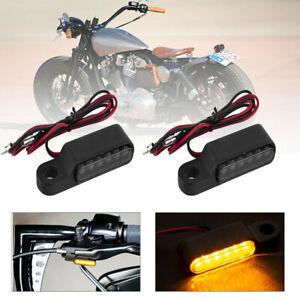 2x 6 LED-Blinker Lenkerarmatur Lenker Für Harley Für Sportster Schwarz Universal