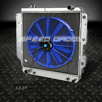 """3-ROW ALUMINUM RACING RADIATOR+16"""" BLUE FAN 87-06 JEEP WRANGLER YJ/TJ 2.4L-4.2L"""