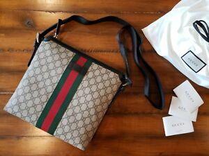 NWT GUCCI Womens & Mens GG Supreme Canvas Web Messenger Crossbody Shoulder Bag