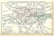 Historische Stadtkarte 1898: Londoner Untergrundbahnen und übriges Bahnnetz (B14
