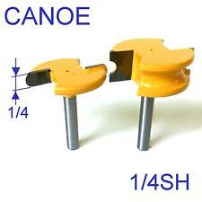 """2 pc 1/4"""" Shank 1/4"""" Diameter Flute & Bead Canoe Router Bit Set S"""