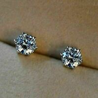 14K White Gold Over 3 Ct Round Cut Moissanite Six Prong Solitaire Stud Earrings
