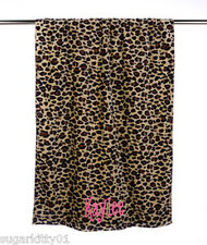 "PERSONALIZED Velour Beach or Bath Towel Leopard Print 30"" x 60"""