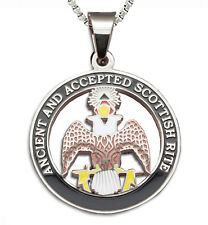 Scottish Rite Crowned 33rd - Silver Steel Masonic Freemason Pendant w/ Necklace