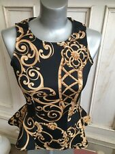 Vintage top Women's Versace Pattern Black Gold Bodycon Paris By AX Size 10