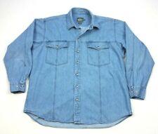 Vintage Woolrich Denim Long Sleeve Button Up Work Jean Shirt XL Mens