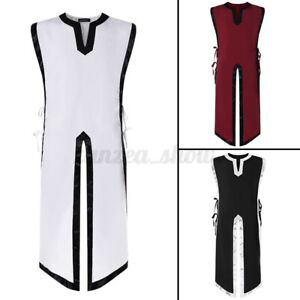Men's Sleeveless Medieval Knight Vintage Tunic Shirt Party Robe Cosplay Costume