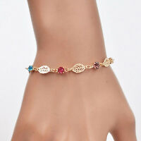 Women Girls Gold Plated Rhinestone Leaf Chain Bracelet Cuff Bangle Jewelry Gifts
