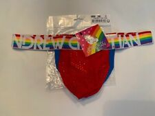 """""""Andrew Christian"""" Size """"M"""" PRIDE Mesh Y-Back Thong - Red/PRIDE Colors"""