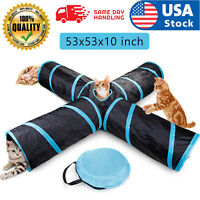USA Feline New Cat Tunnel Design, Collapsible 4-way Tunnel Toy with Crinkle