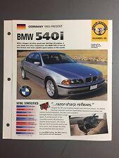 "1993 > BMW 540i Sedan IMP ""Hot Cars"" Spec Sheet Folder Brochure #2-38"