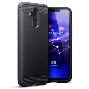 For Huawei Mate 20 Lite  Carbon Fibre Soft Protective  Shockproof  Cover Black