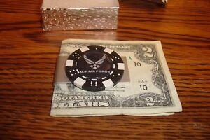 """U.S. Air Force Black LOGO Aluminum Poker Chip Money Clip 1"""" Dome image  Blk/Wht"""