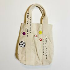 Marc Jacobs Fragrances Large Canvas Tote Bag Button Pins Embellished Cream