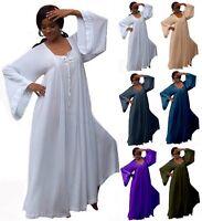 Boho Maxi Moroccan Dress - Pockets Wide Slip Rayon Crinkle - W225 LotusTraders