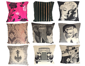 """Cushion Covers 18"""" Large Vintage Marilyn Car Camera Elephant Chandelier Floral"""