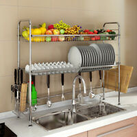 Stainless Steel Over Sink Dish Drying Rack Bowl Shelf Kitchen Cutlery Holder NEW