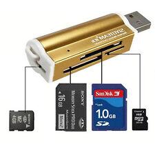 Kartenleser USB 2.0 Micro SD MMC SDHC M2 Speicherkartenleser Adapter blue Neu