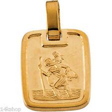 18K Gold St St. Saint Christopher Medal   Pendant Small Box Shape Charm 11x13mm