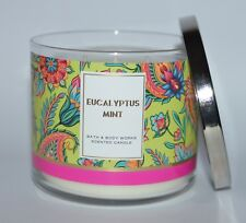 BATH & BODY WORKS EUCALYPTUS MINT SCENTED CANDLE 3 WICK 14.5 OZ LARGE SPEARMINT