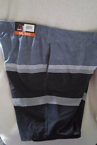 Gerry Men Swimming Shorts Size XXL Gray White/Teal Adjustable Waist New