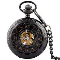 Black Antique Steampunk Windup Roman Gold Dial Skeleton Mechanical Pocket Watch