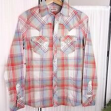 True Religion Pearl Snap Button Western Plaid Shirt Womens XS 100% Cotton