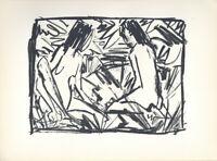 "Original 1920 Lithograph OTTO MUELLER ""Bathers"" Ed. 600"