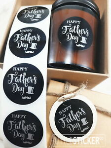 Father's Day stickers,  Happy Father's day round labels gloss black 40mm  25-200