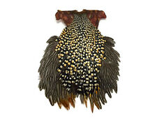1 Piece - Grade A Natural Gold Jungle Cock Cape Complete Skin Pelt With Feather