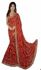 Red chiffon Bandhani Saree for women With Blouse