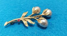 "W/Baroque Grey Pearls/ Ruby 2"" Estate Vintage 14K Gold Branch/Leaves Brooch/Pin"