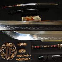 Japanese Sword Katana Clay Tempered Blade Dragon Brass Tsuba Double Blood Groove