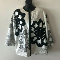 Chico's Kimono Jacket Silk Blend Lined 3/4 Sleeve Floral Applique Women's Size 3