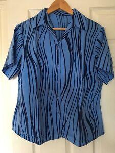 Alexandra NF163 Women's Smart Work Blouse In Blue And Navy Swirl Design Size 16