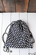 Handmade Navy White Elephant PE Cotton Drawstring Bag Gymsac Ballet Swimming