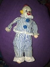 Porcelain Clown Head Doll Wound up Doll Made in South Korea Built in Music Box