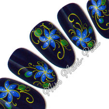 Nail Art Stickers, Water Decals, Transfers, Blue Flowers Matt Gold Swirls H041