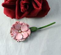 Vintage Original by Robert Pink Enamel Carnation Flower  Pin  Brooch  CAT RESCUE