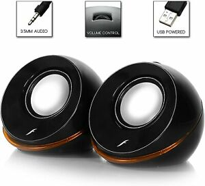 2 black USB 2.0 Portable Speakers for Dell HP Acer Asus Apple Laptop PC computer
