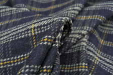 A5 Lamm Wolle & Kaschmir Blend rustikal kariert navy-grey-gold MADE IN ITALY