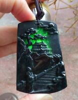 Certified Black Green Natural A Jade jadeite Pendant Landscape painting 515326