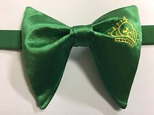 Handmade Green/Gold Crown Satin Bow tie Vintage style 70`s Bowtie Pre-tied