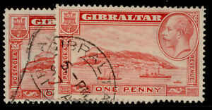 GIBRALTAR GV SG110 + 110a, 1d PERF VARIEITIES, FINE USED. Cat £10.