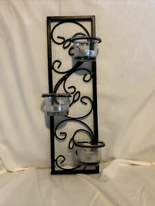 Black Metal Candle Holder w/ 3 New Tea light Candles