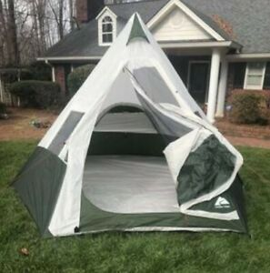 7 Person Tent 1 Room Design No Center Pole Teepee Camping Music Festival Shelter