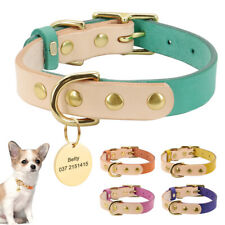 Soft Leather Dog Collars Personalized Id Name Tags Engraved for Small Puppy Cats