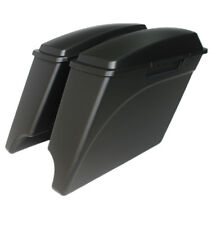 "Matt/denim  black  4"" both cutout Stretched extended saddlebags for Harley 93-13"